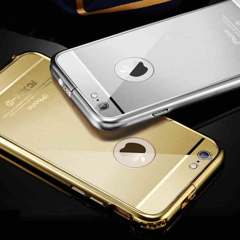 2in1 brand luxury gold mirror case for iphone 6 iphone 6