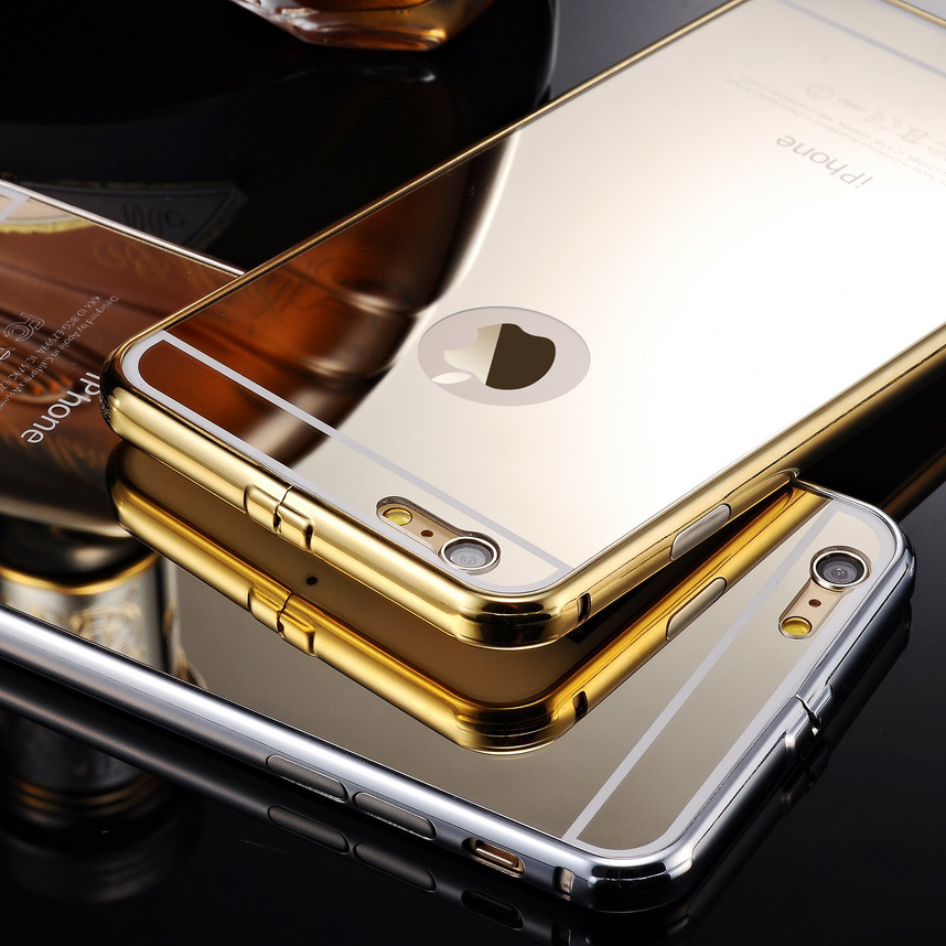 2 in 1 brand luxury gold mirror case cover for iphone 6 for Coque iphone 6 miroir